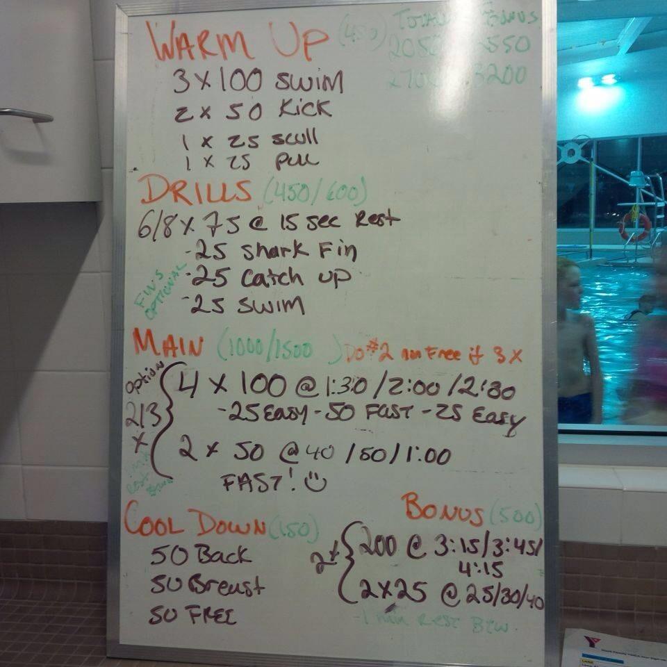 Swim Set 2014 11 11 Waterloo Ymca Triathlon Club